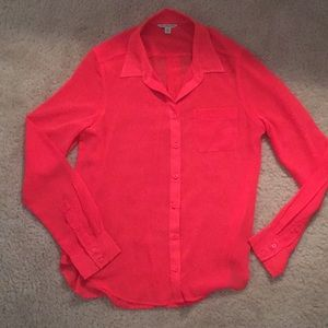 NEW Sheer Hot Pink Button Down Shirt